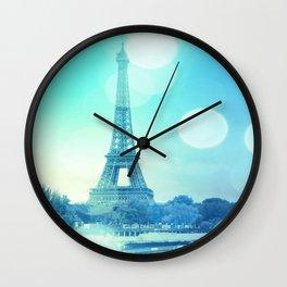 Paris Bokeh Aqua Wall Clock