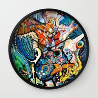 phoenix Wall Clocks featuring Phoenix by Dawn Patel Art