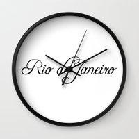 rio de janeiro Wall Clocks featuring Rio de Janeiro by Blocks & Boroughs