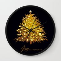 christmas tree Wall Clocks featuring Christmas tree by valzart