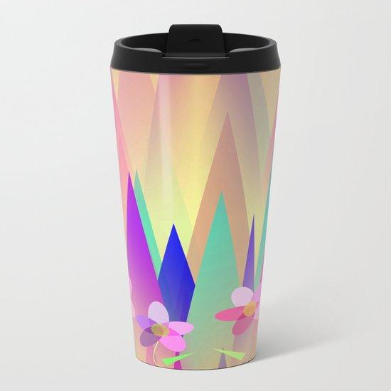 Mountains And Flowers Metal Travel Mug