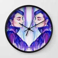 audrey hepburn Wall Clocks featuring Audrey Hepburn by VivianLohArts