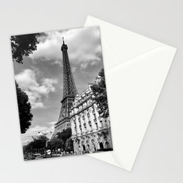 Eiffel Tower, Paris, France black and white photograph Stationery Cards