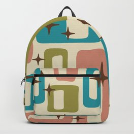 Retro Mid Century Modern Abstract Pattern 623 Olive Blue and Dusty Rose Backpack