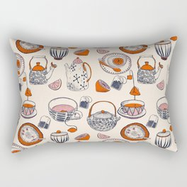 TEA PARTY for TEA LOVERS - pattern - creamy beige, navy blue, red, pink Rectangular Pillow