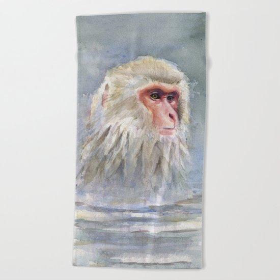 Snow Monkey Watercolor Animal Beach Towel