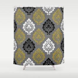 Decorative Damask Pattern BW Gray Gold Shower Curtain