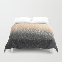 black and gold Duvet Covers featuring GOLD BLACK by Monika Strigel