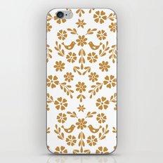 Golden floral symmetric birds heart iPhone & iPod Skin