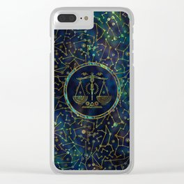 Libra Zodiac Gold Abalone on Constellation Clear iPhone Case