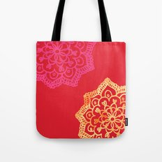 Happy bright lace flower - red Tote Bag