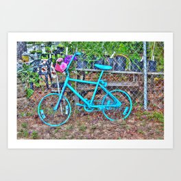 Turquoise Bicycle Art Print
