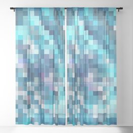 geometric square pixel pattern abstract in blue Sheer Curtain