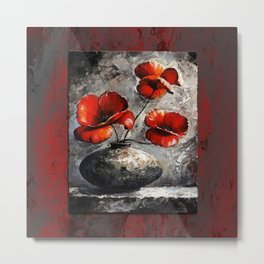 Poppies style gray red Metal Print
