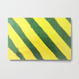 Abstract yellow stripes hand painted on green background Metal Print