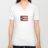 puerto rico V-neck T-shirts featuring Old and Worn Distressed Vintage Flag of Puerto Rico by Jeff Bartels