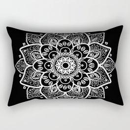 White Mandala On Black Rectangular Pillow