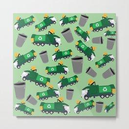 Recycling Garbage Truck Pattern Metal Print