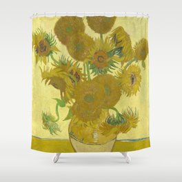Vincent van Gogh - Still life: Vase with Fifteen Sunflowers (1888) Shower Curtain