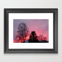 Sunset over snow capped Cumbrian Mountains Framed Art Print