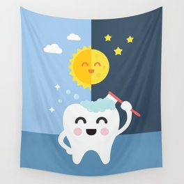 Brush your Teeth Morning and Night Wall Tapestry