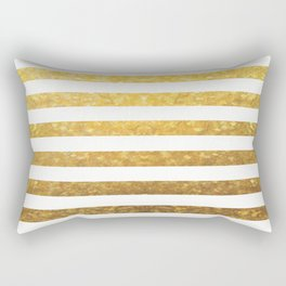 White and Gold Stripes  Rectangular Pillow