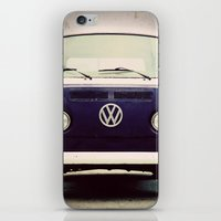 volkswagon iPhone & iPod Skins featuring Blue VW Bus by Anna Dykema Photography