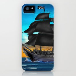 Pirate Ship at Sunset iPhone Case