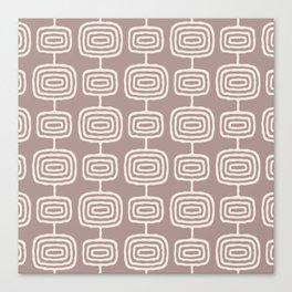 Mid Century Modern Atomic Rings Pattern Beige Canvas Print