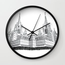 San Diego LDS Temple Ink Drawing Wall Clock