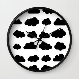 Black clouds - Black and white art Wall Clock