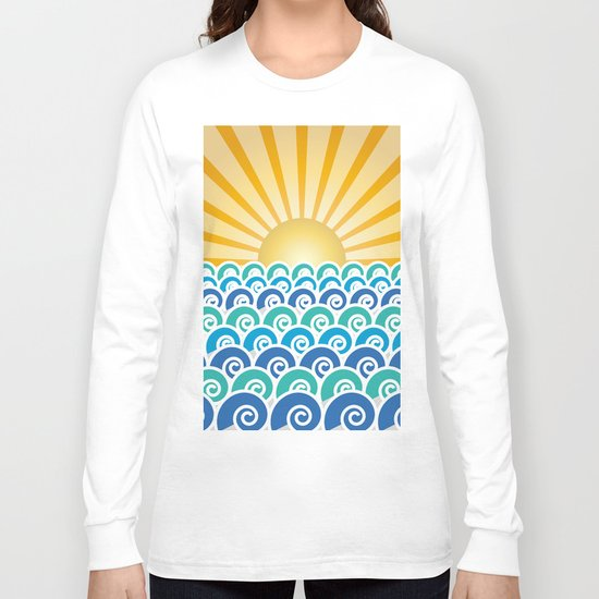 Along the Waves Blue Long Sleeve T-shirt