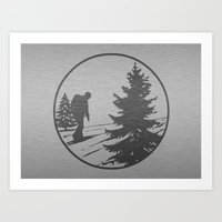 hiking Art Prints featuring Hiking by Paul Simms