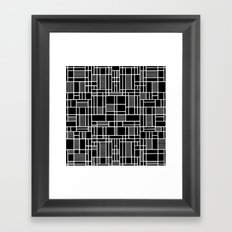 Map Lines Black Framed Art Print