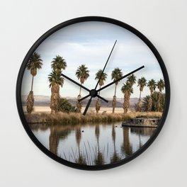California Lake Lined Palm Tree Photograph Wall Clock