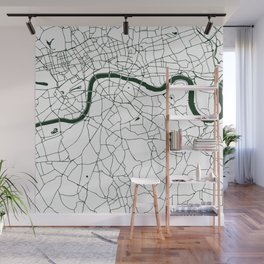 London White on Green Street Map Wall Mural