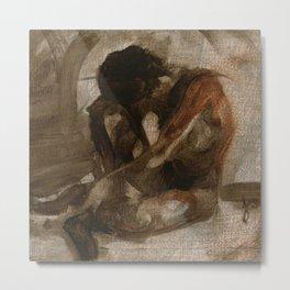Figure Gesture Painting Sketch of Nude Female Woman in Black And Brown Brush Strokes Metal Print