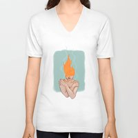 lorde V-neck T-shirts featuring Your head caught flame by Sweet Demise Designs