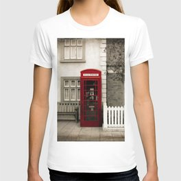 Red Telephone Booth Sepia Spot Color Photography T-shirt