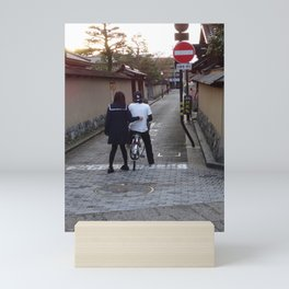 Two young people and a no entry sign in Japan Mini Art Print