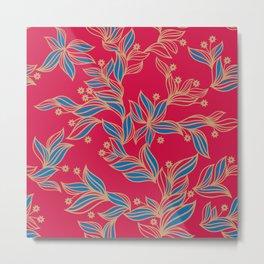 Winter Floral Pattern Metal Print