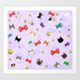 Cat Pattern Purple Art Print