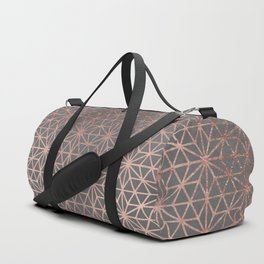 Modern rose gold stars geometric pattern Christmas grey graphite concrete industrial cement Duffle Bag