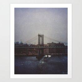 Manhattan Bridge of Whales Art Print