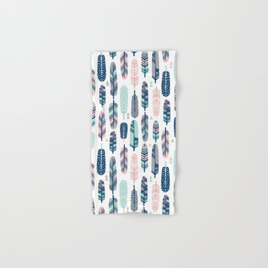 Feathers geometric trendy gender neutral colors modern feather and arrows pattern print dorm college Hand & Bath Towel