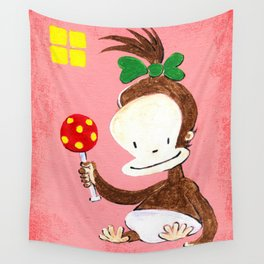 Baby Ape Girl on Pink Wall Tapestry