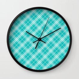 Aqua Blue & White Diagonal Plaid Scottish Clan McTiffany Wall Clock