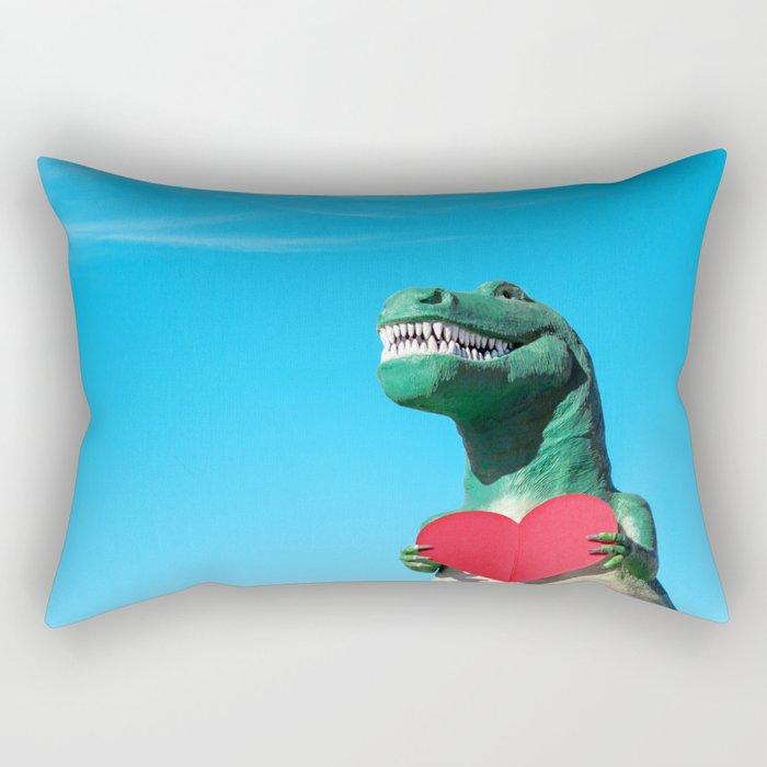 Tiny Arms, Big Heart: Tyrannosaurus Rex with Red Heart Rectangular Pillow