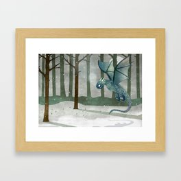 Ice Dragon in Forest Framed Art Print