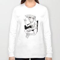 shark Long Sleeve T-shirts featuring Shark by Hopler Art